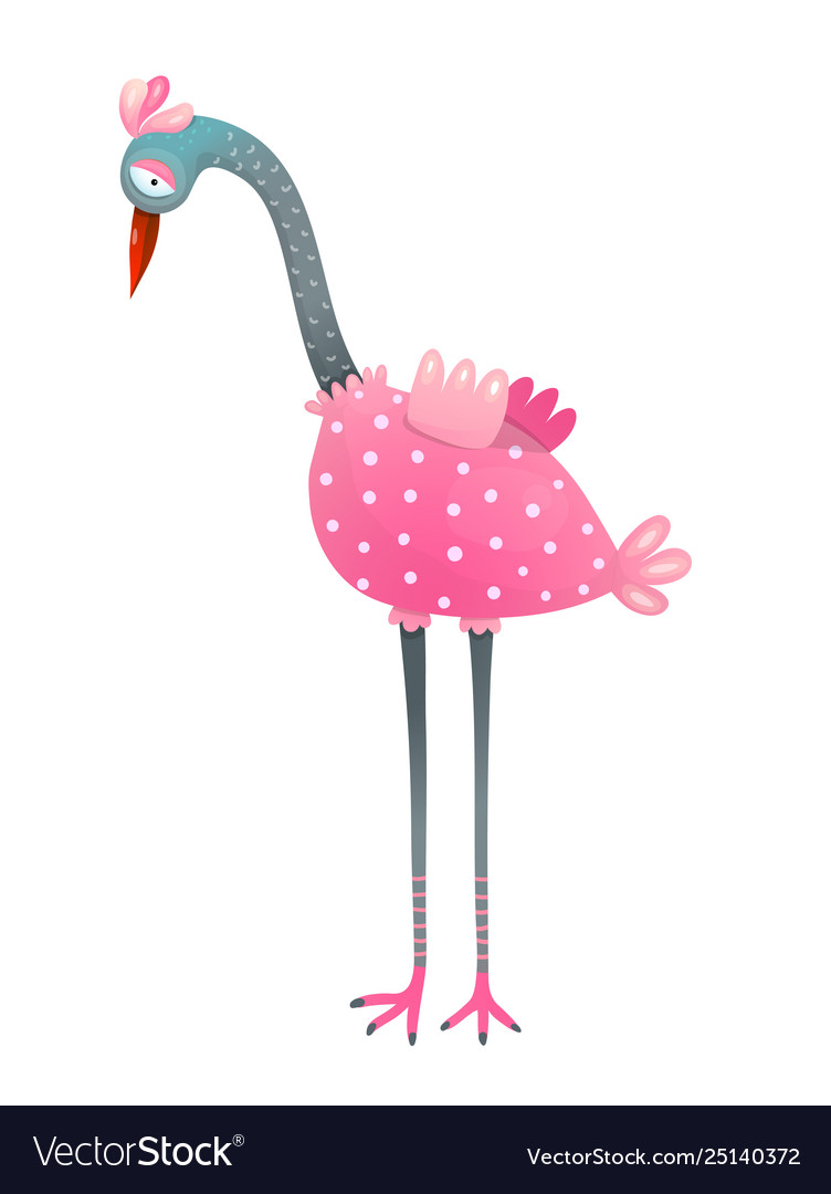 Cute flamingo bird watercolor style isolated