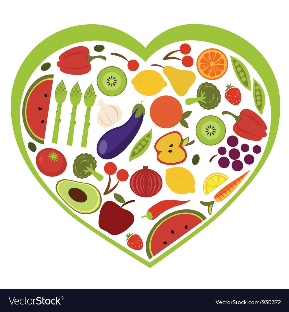 Fruit and vegetables heart shape