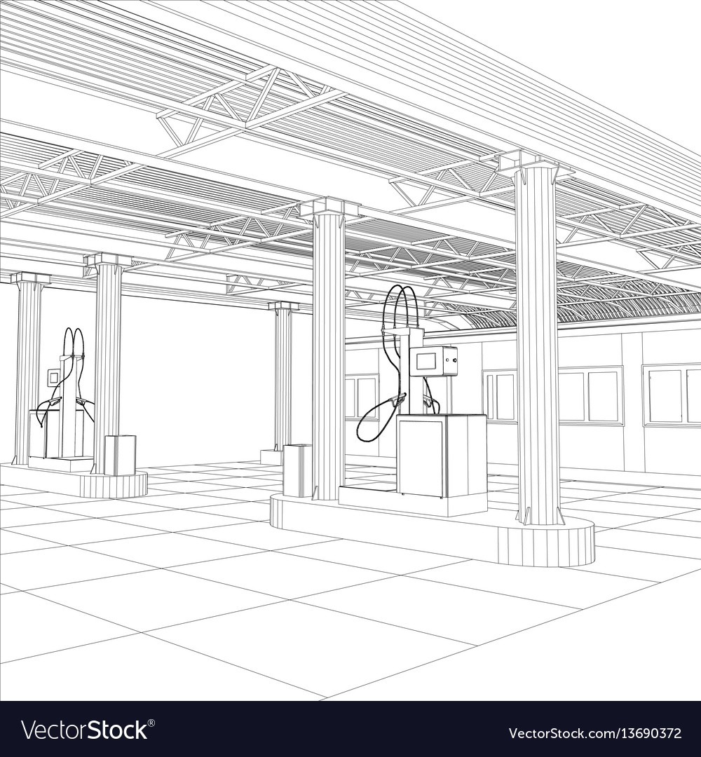 Gas station wire-frame line Royalty Free Vector Image