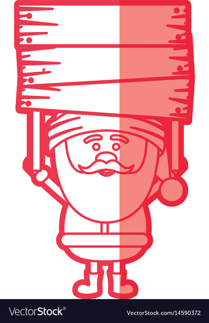 Red silhouette of santa claus with wooden banner vector image