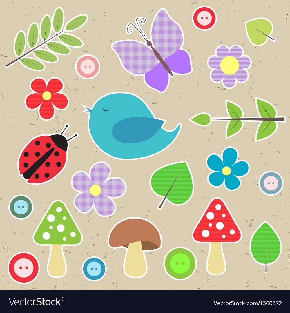 Set of scrapbook elements - animals nature buttons vector image