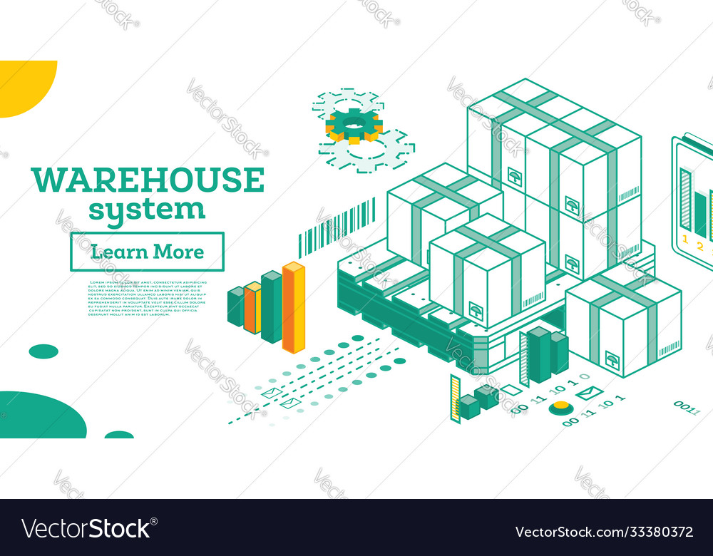 Warehouse system isometric outline cardboard