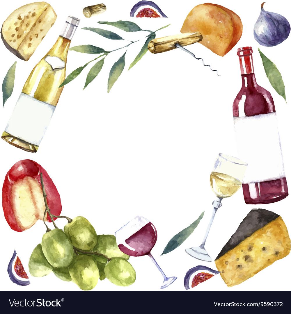 Watercolor wine and cheese frame vector image