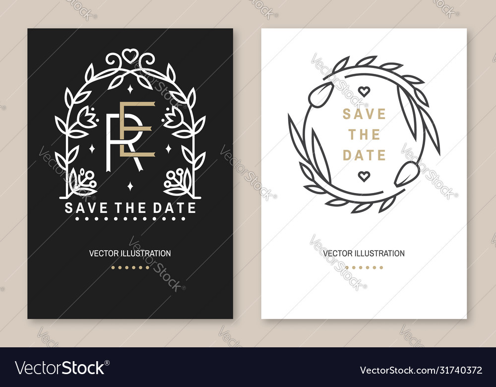 Wedding invitation card template thin line