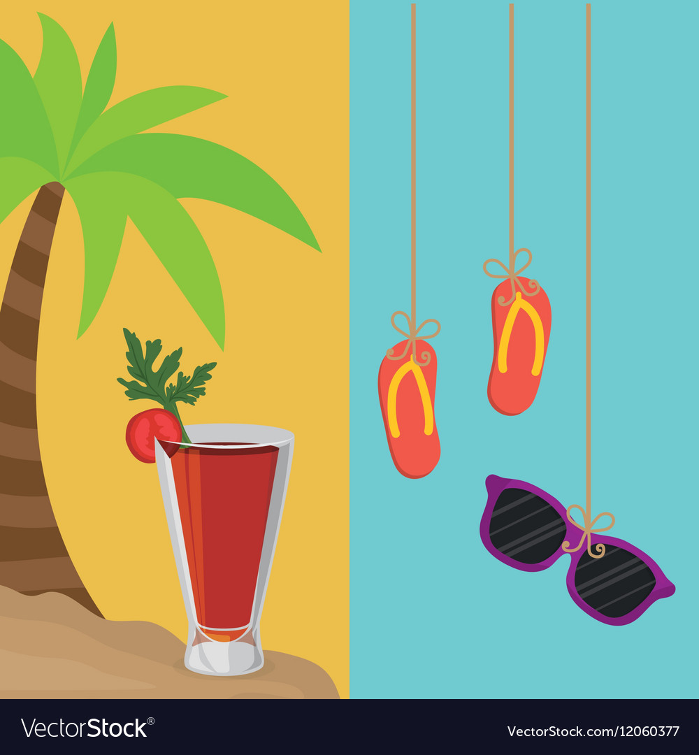 Beach palm cocktail and flip flop sunglasses