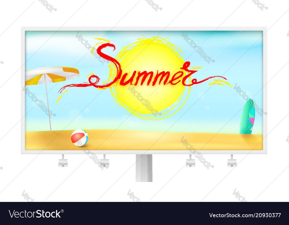Billboard with summer background sun umbrella