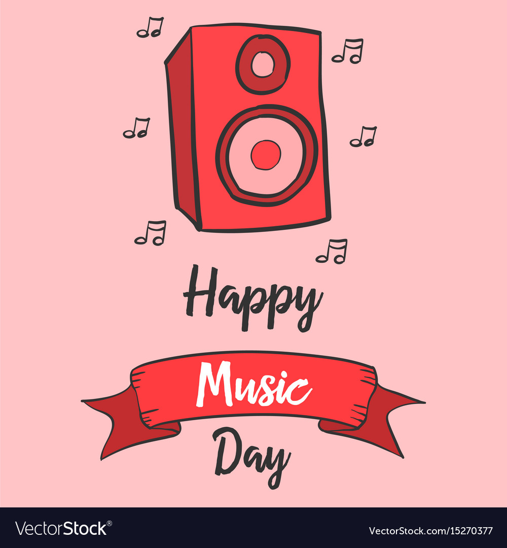 Celebration of music day greeting card