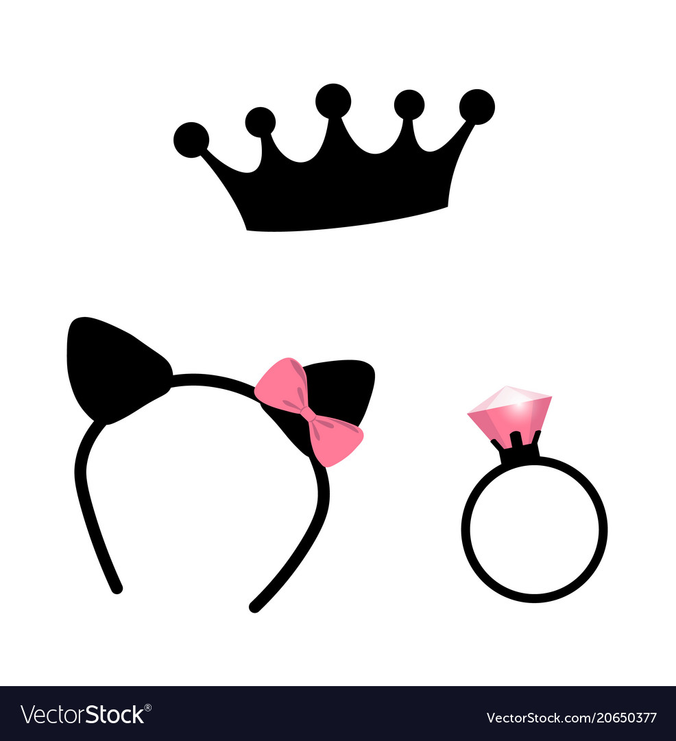 Crown faux cat ears and a ring girls party