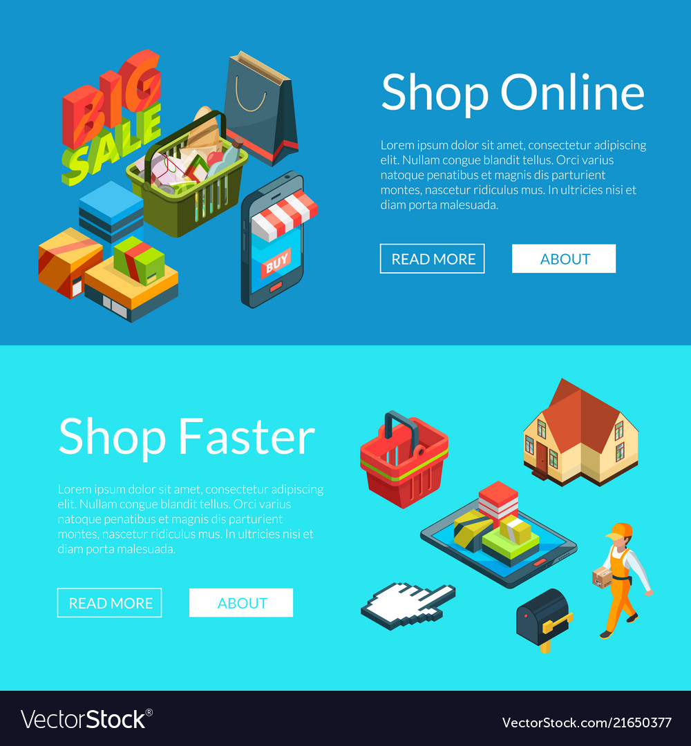 E-shopping banners isometric online