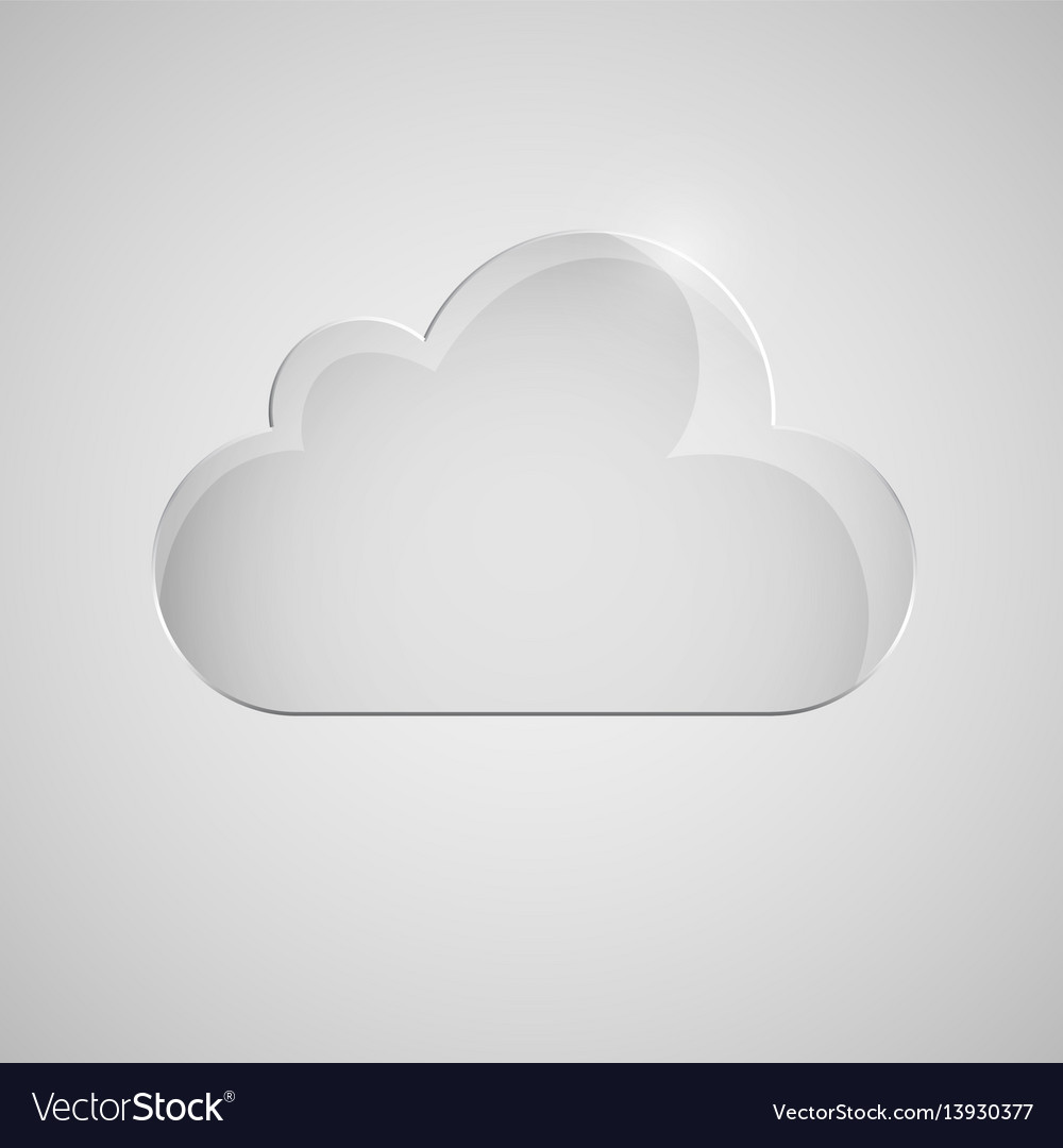 Glass cloud icon on gray background