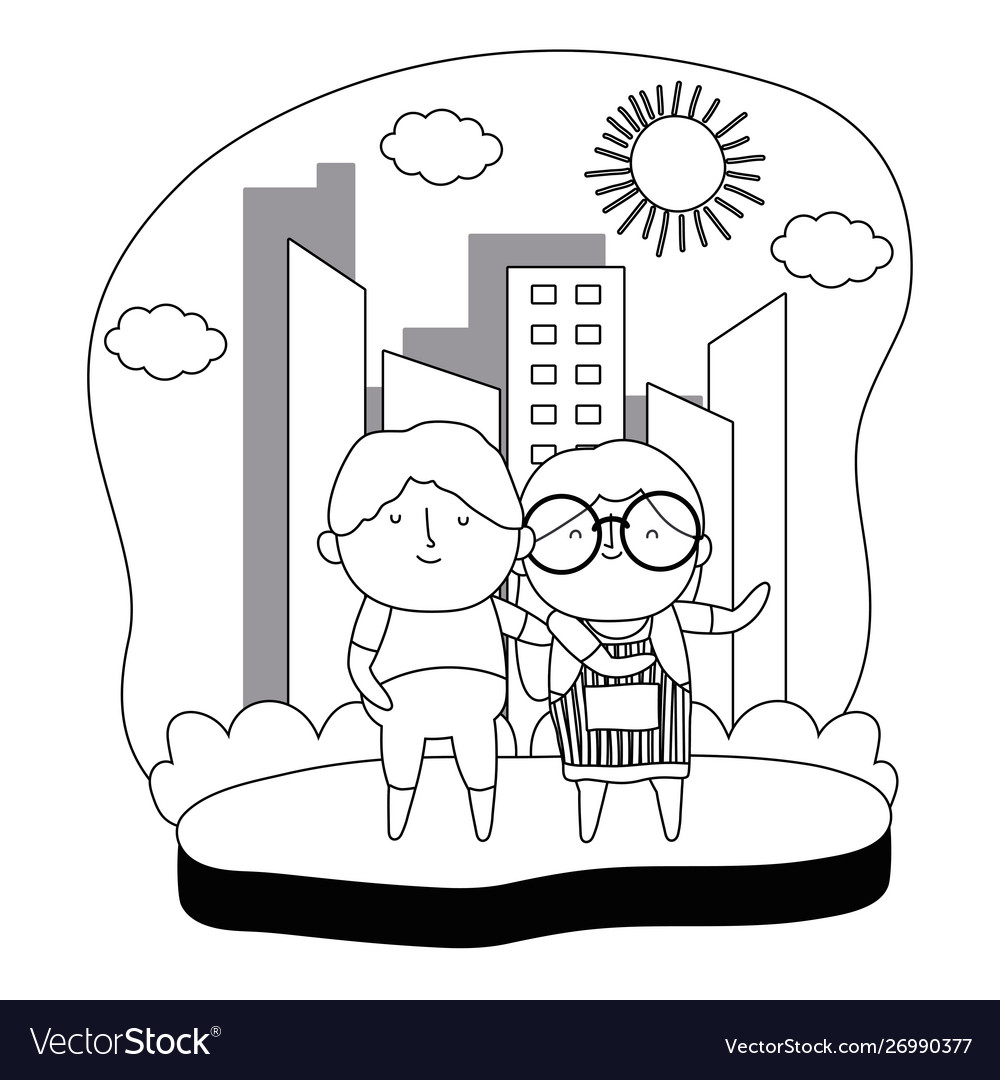 Grandmother and grandfather cartoon design