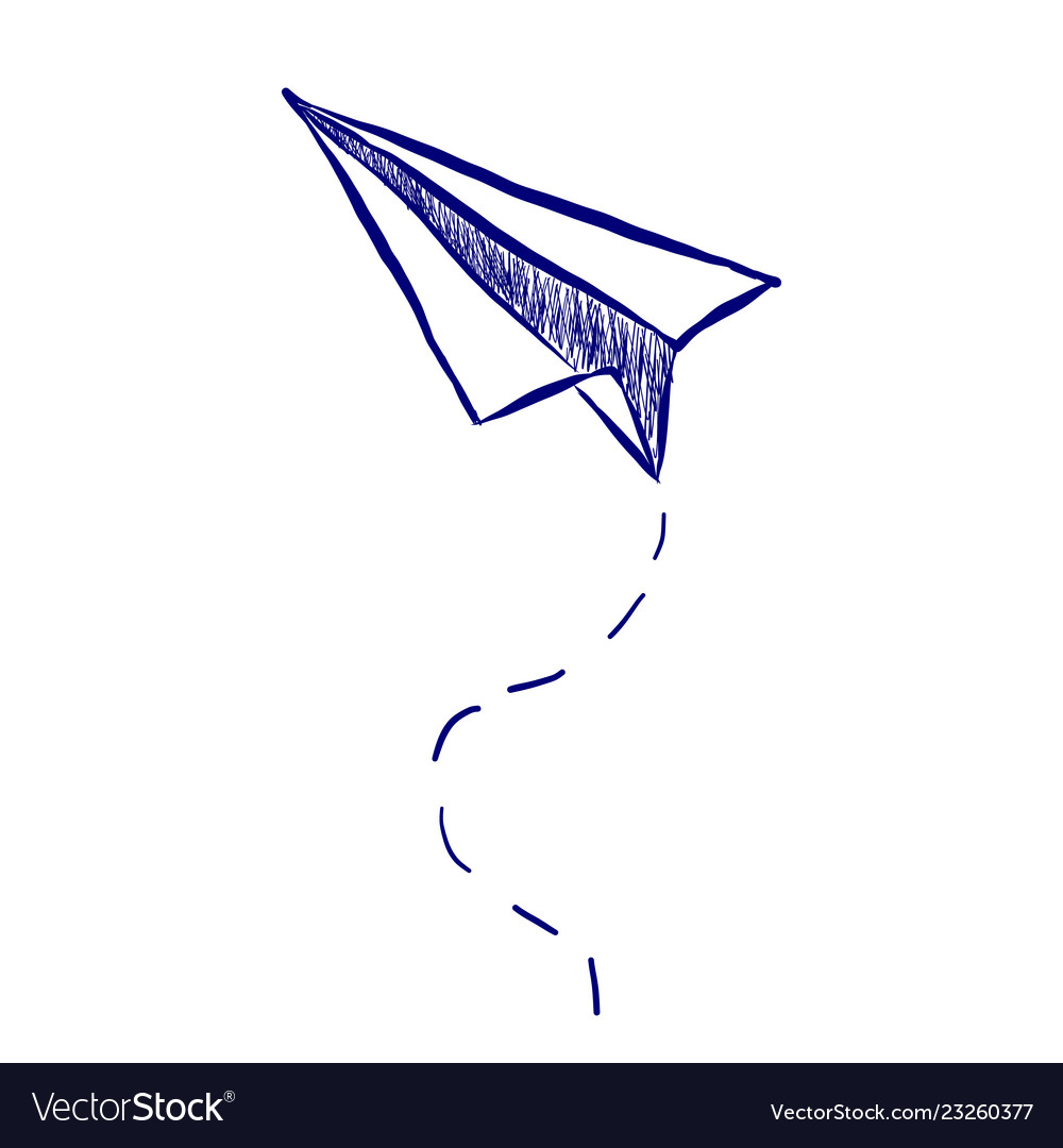 Hand Drawn Paper Airplane Royalty Free Vector Image