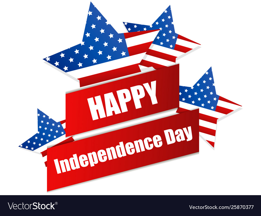 Happy independence day 4th july ribbon and
