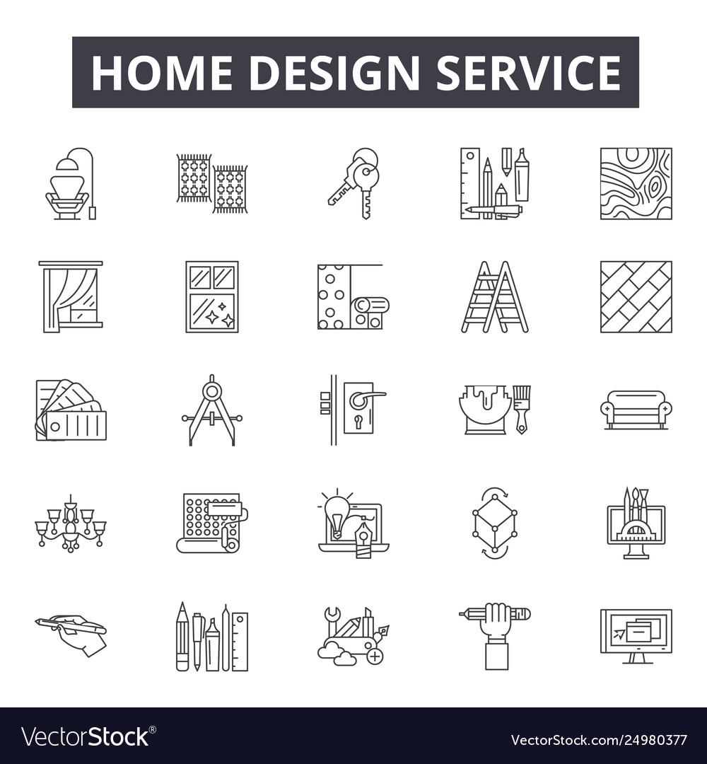 Home design service line icons signs set