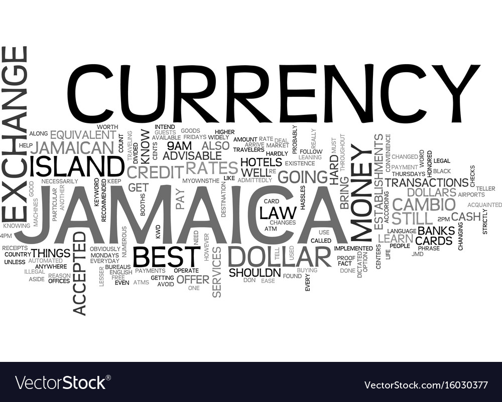 Jamaica currency text background word cloud vector image
