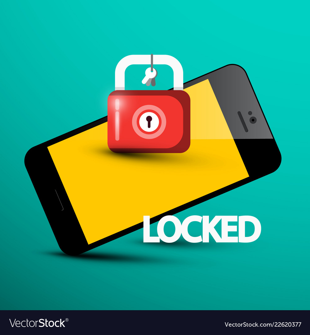 Locked phone symbol cellphone with lock internet