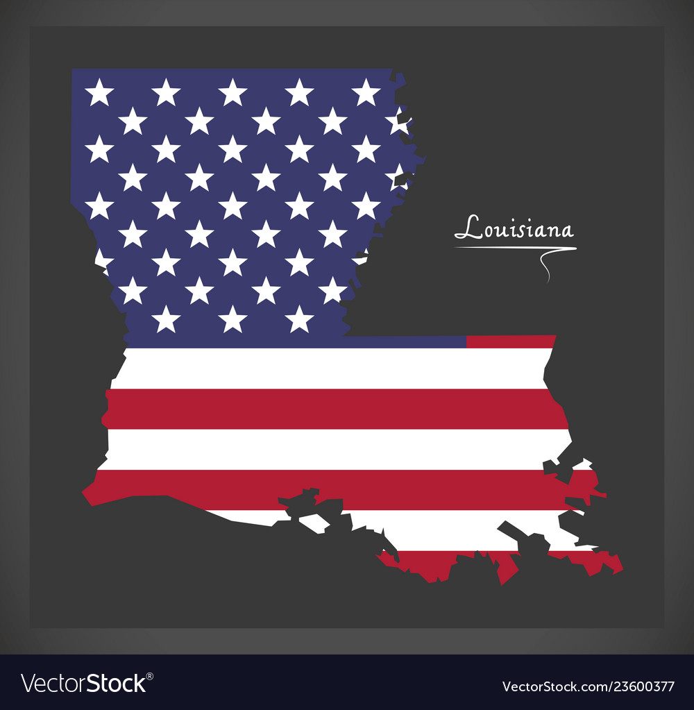Louisiana map with american national flag