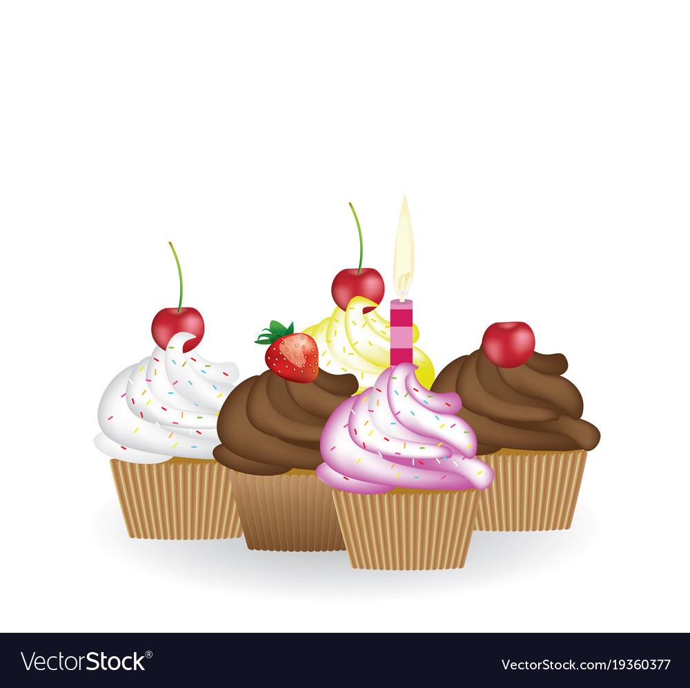 Set of birthday cupcakes