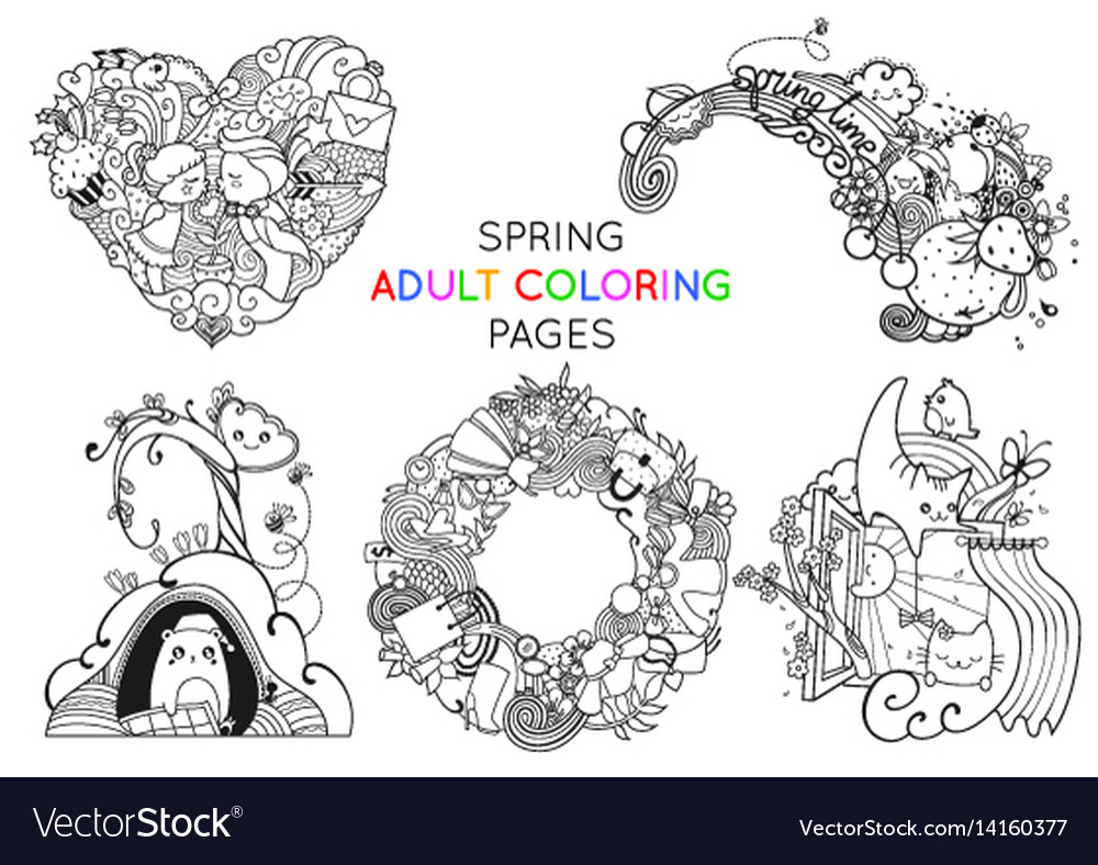 Set of spring adult coloring pages template