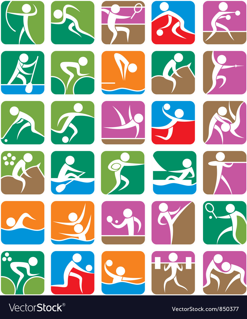 Summer sports symbols colorful