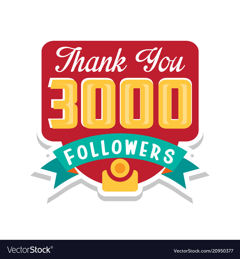 Thank you 3000 followers numbers template for