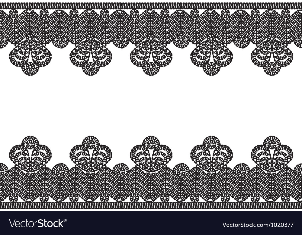 white background with black lace border vector image