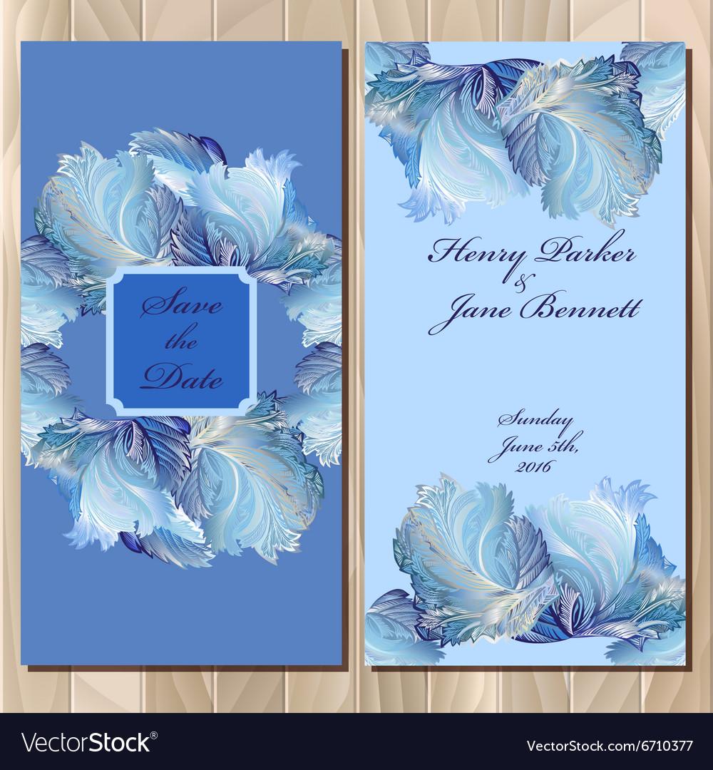 Winter frozen glass design invitation card vector image