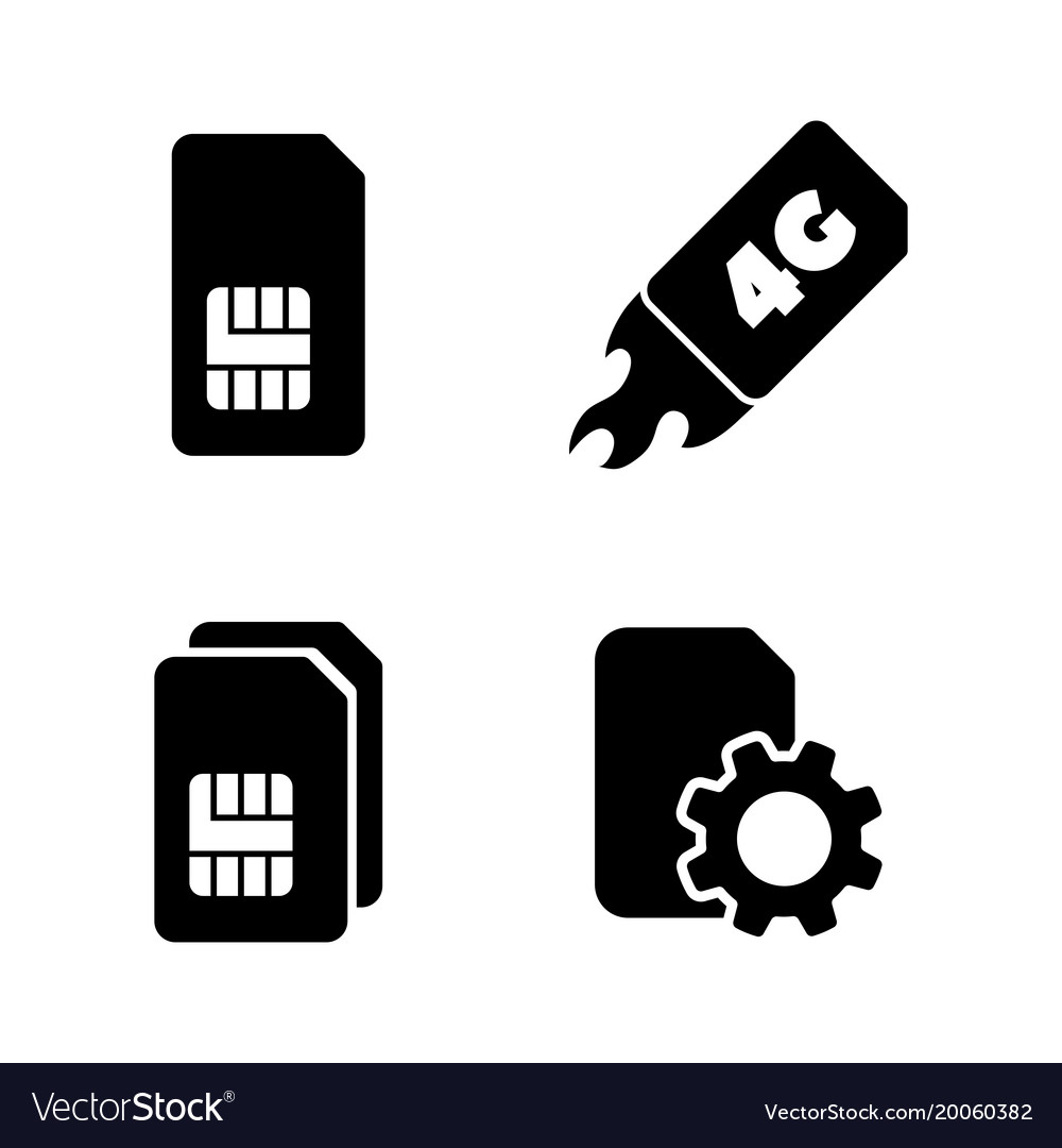 4g sim card simple related icons