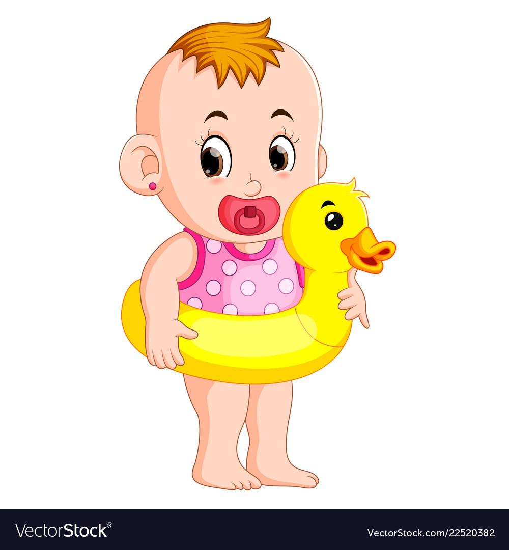 Baby happy wearing buoy duck