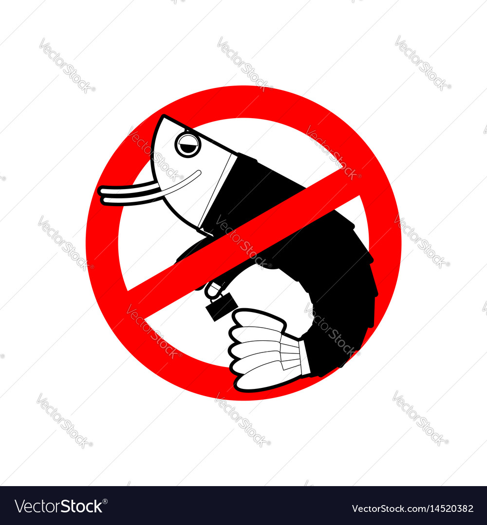 Ban Office Plankton Prohibited Shrimp In Suit Red Vector Image