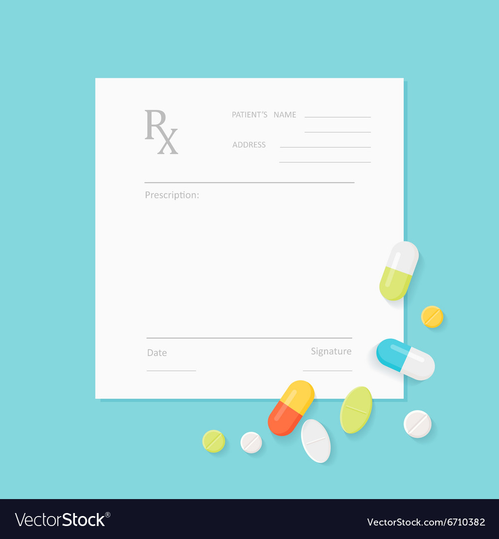 Blank Medicine Prescription Form And Pills Vector Image