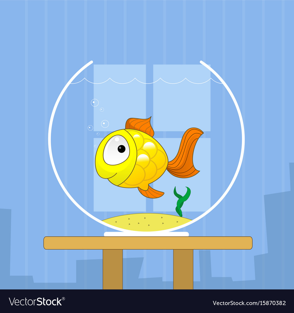 Cartoon cute golden fish in bowl