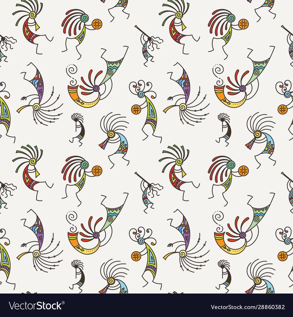 Hand drawn kokopelli seamless pattern stylized
