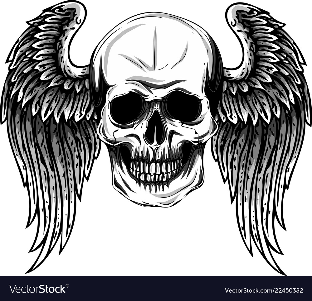 Human Jaw Tattoo: Human Skull With Wings For Tattoo Design Vector Image