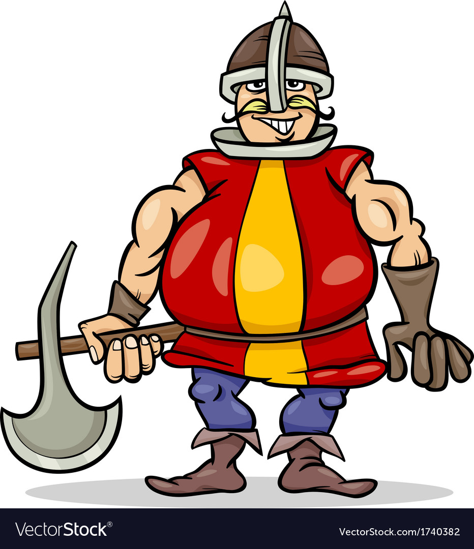 Knight with axe cartoon