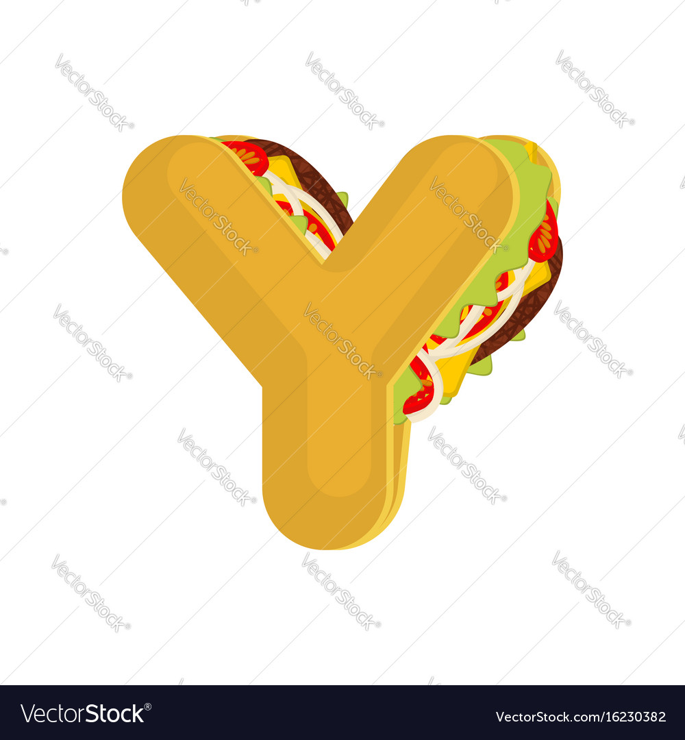 Letter y tacos mexican fast food font taco