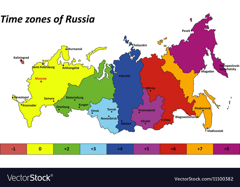 Russia map with time zones