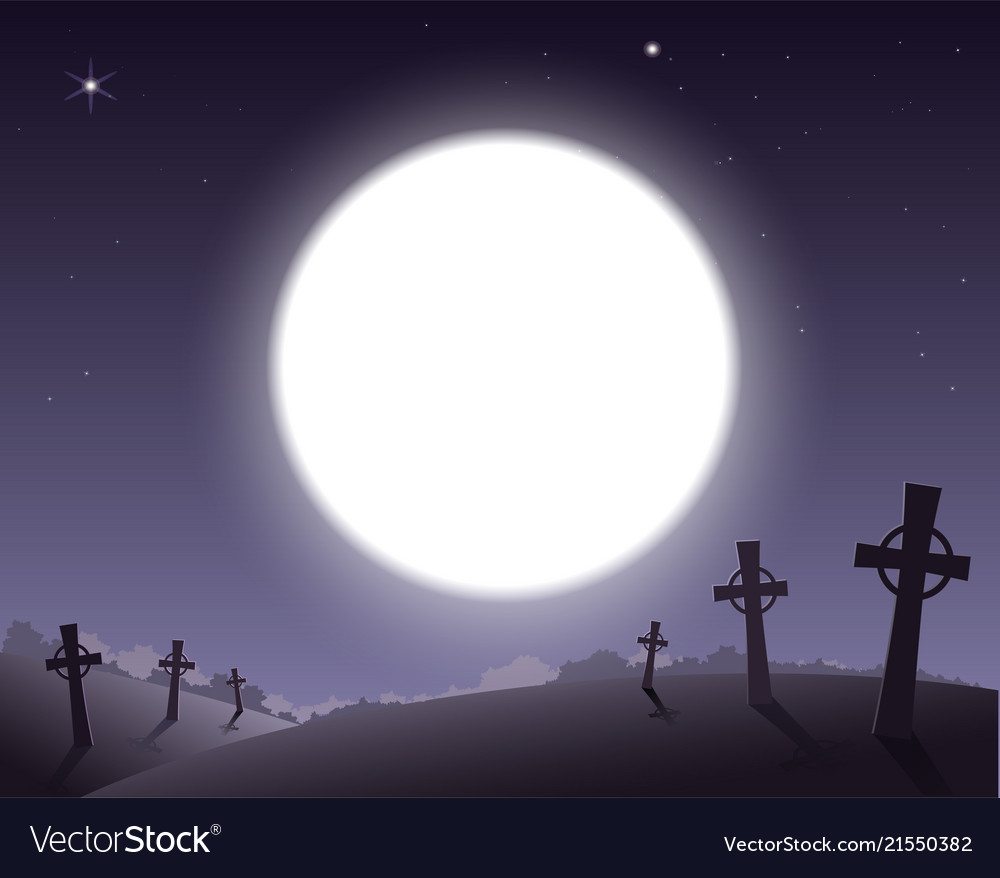 scary background for halloween cemetery with vector image
