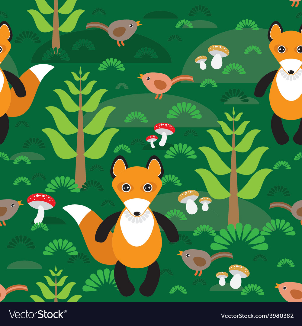 Seamless pattern fox and forest tree mushrooms