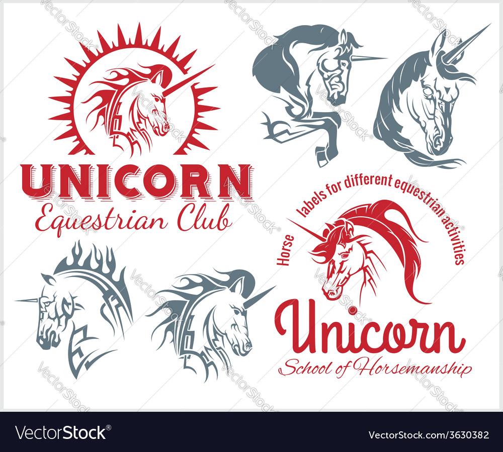 Set - Unicorns and horses equestrian labels badges