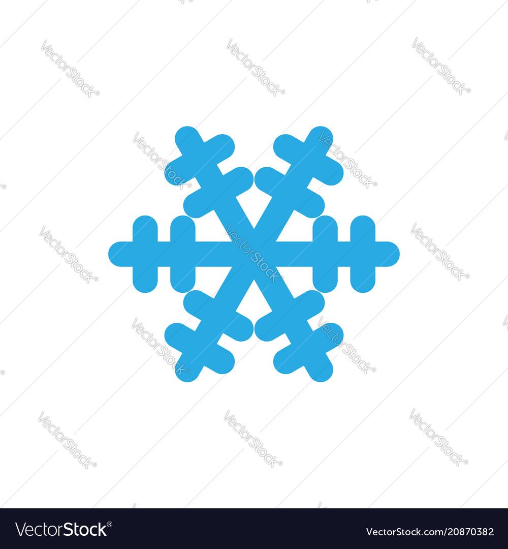 Snowflake icon blue silhouette snow flake sign
