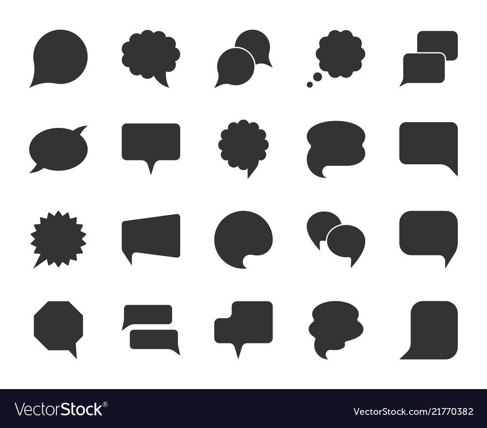 Speech bubble black silhouette icons set