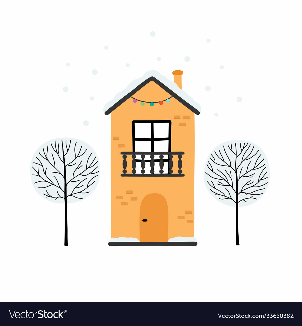 Winter urban landscape card with houses and trees