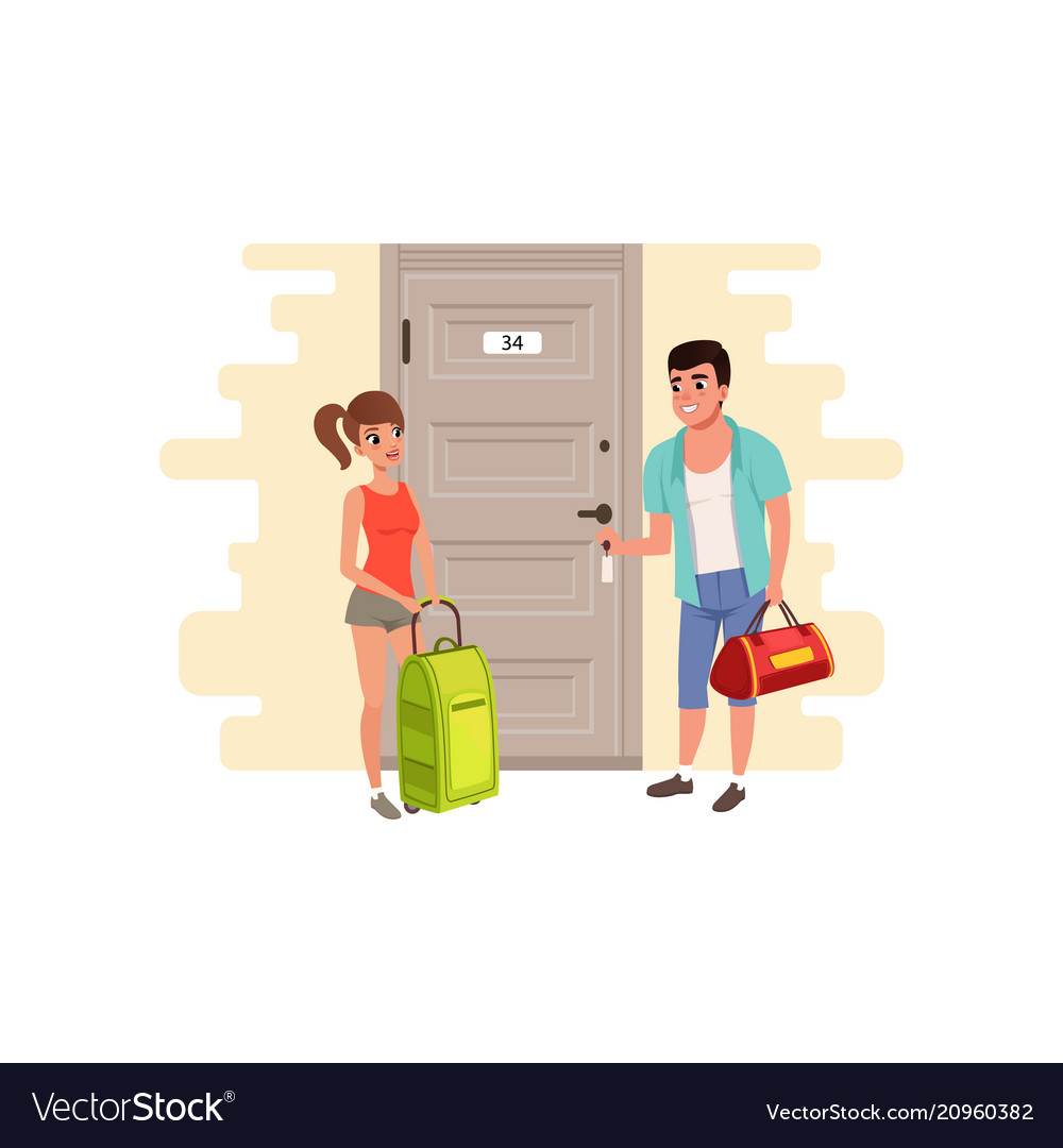 Young couple standing in front of the door of the