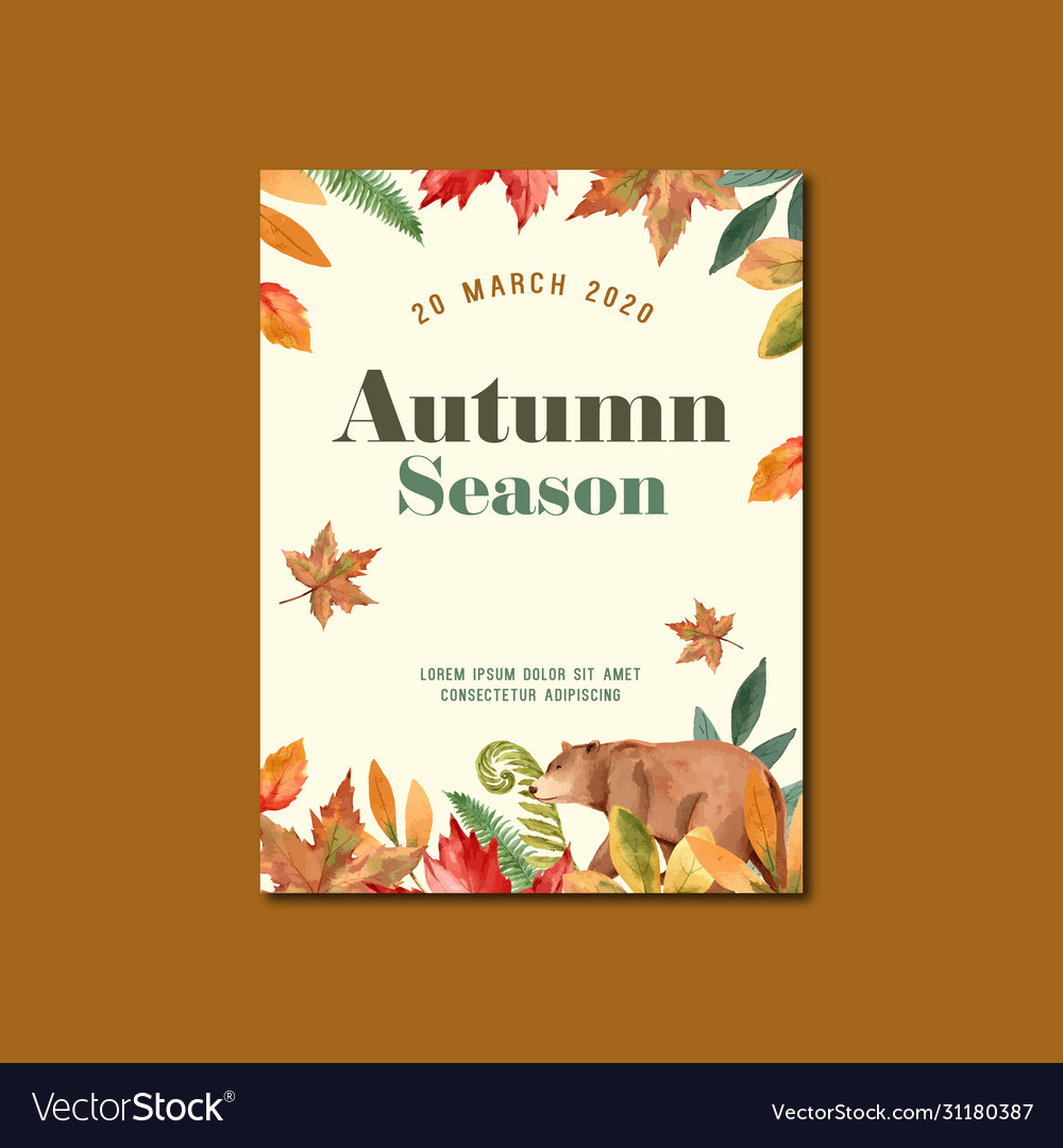 Autumn season poster layout design with leaves