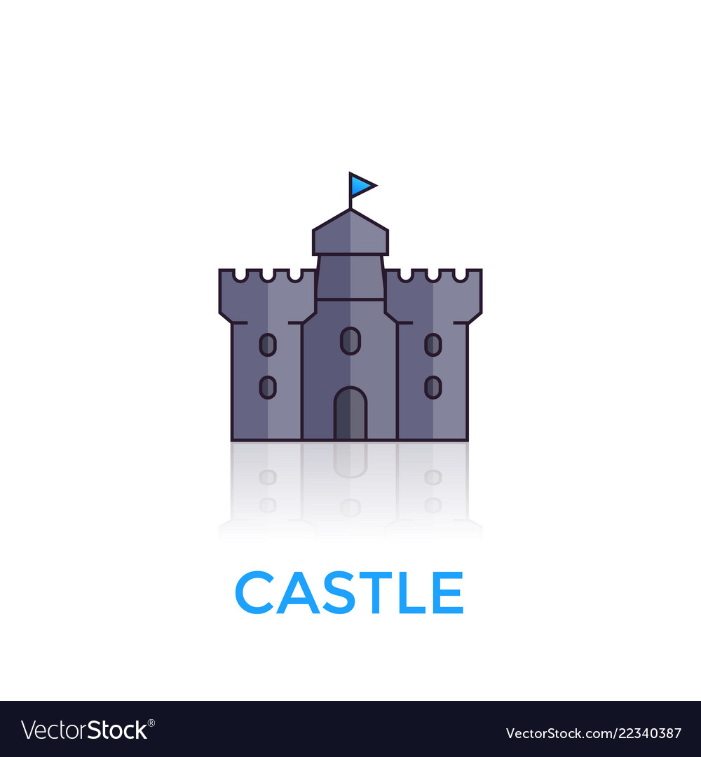 Castle medieval fortress icon on white