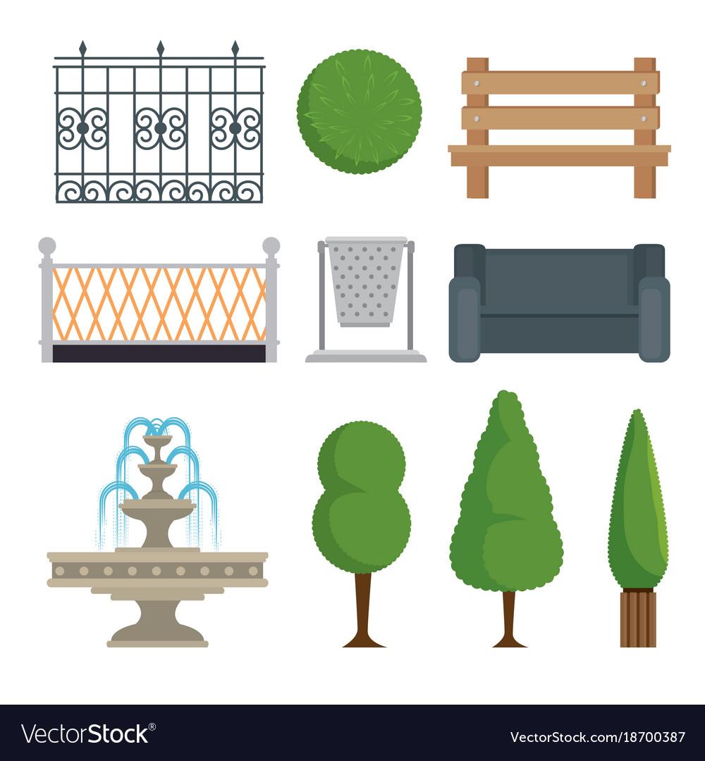 City and park elements set