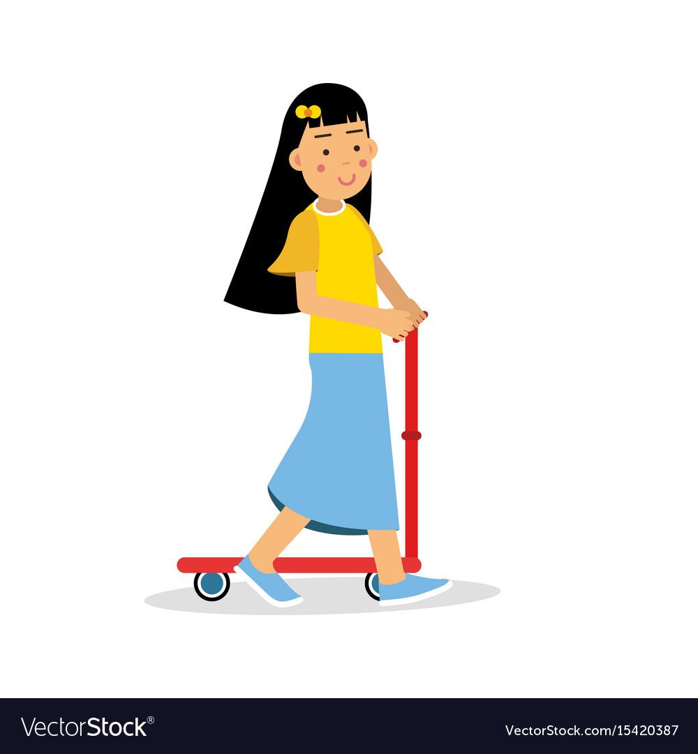 Cute brunette girl riding a kick scooter cartoon