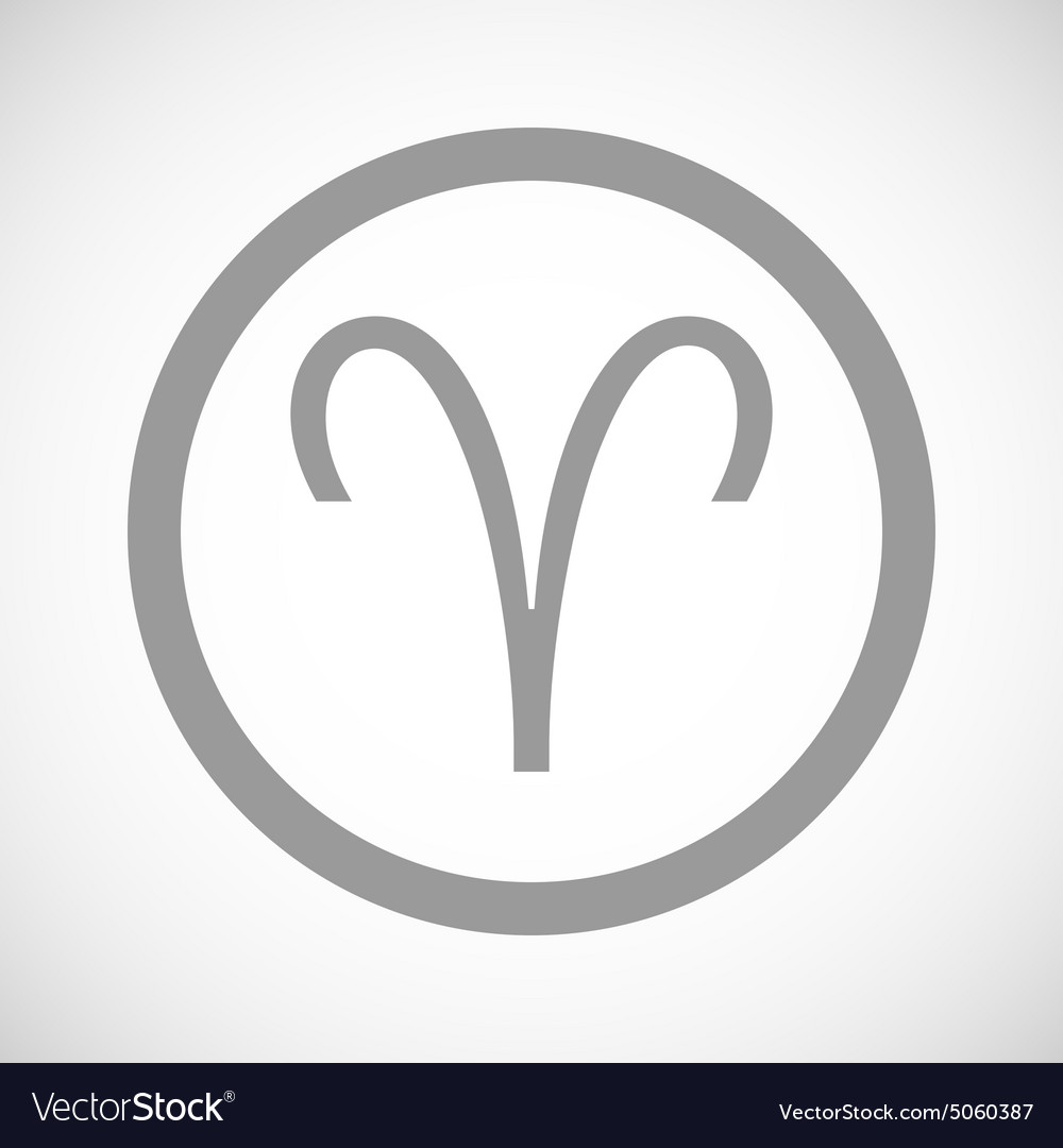 Grey Aries Sign Icon Royalty Free Vector Image