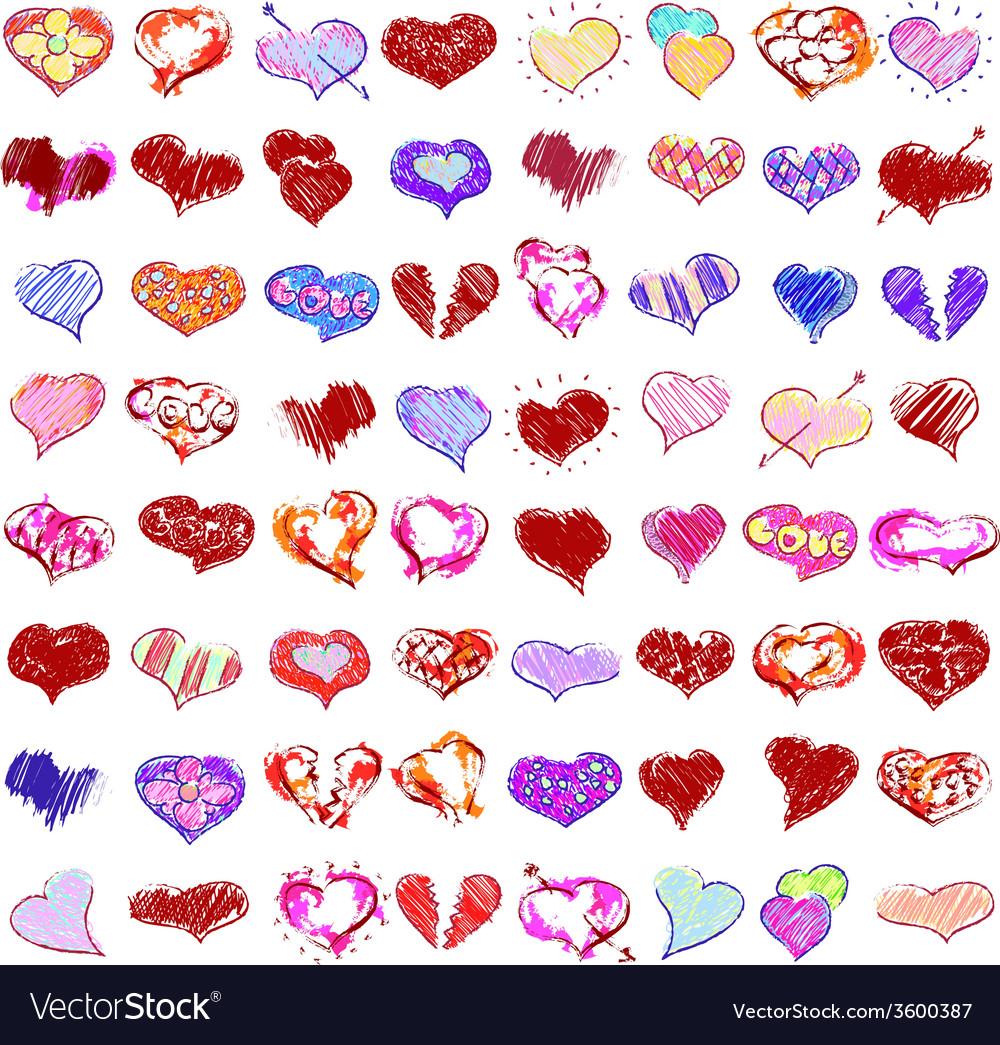 Happy valentines hearts set